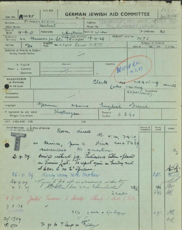 Kitchener camp, Herbert Finkelstein, German Jewish Aid form, 14 February 1947