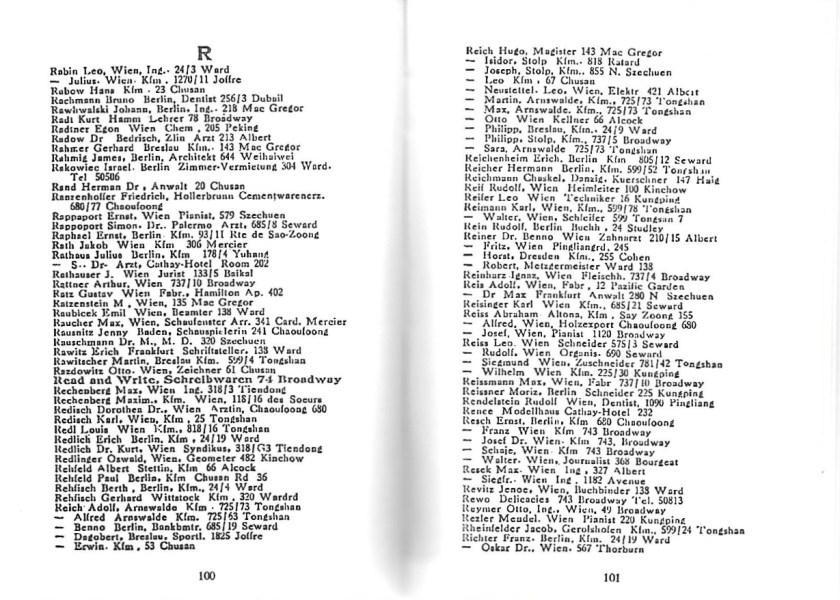 Kitchener camp, Moriz Reissner, Shanghai address book, page 100-101