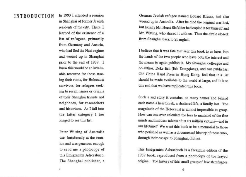 Kitchener camp, Moriz Reissner, Shanghai address book, Introduction, page 4-5
