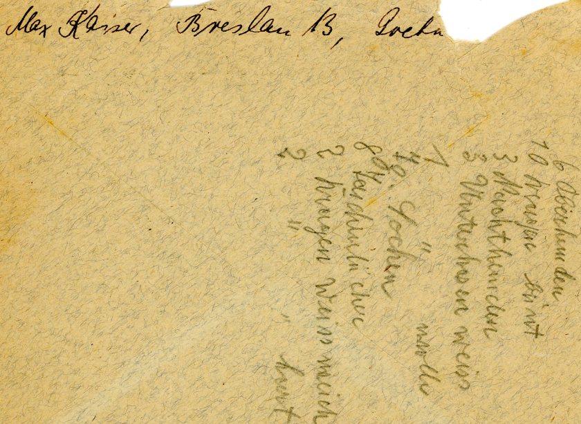 Max Kaiser, envelope, letter to Werner Weissenberg