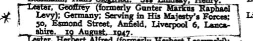 Gunter Levy, Name change, London Gazette, 19 September 1947