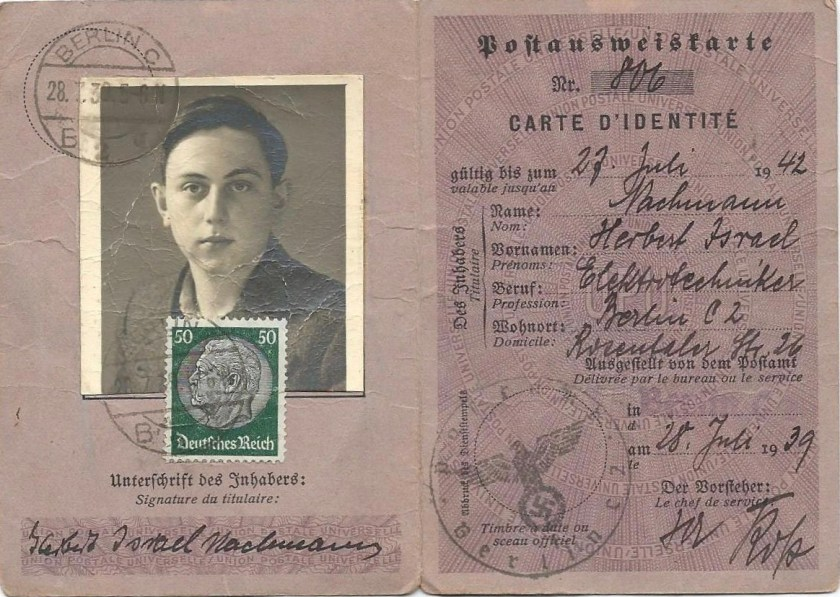Richborough camp, Sandwich, Herbert Nachmann, German ID card