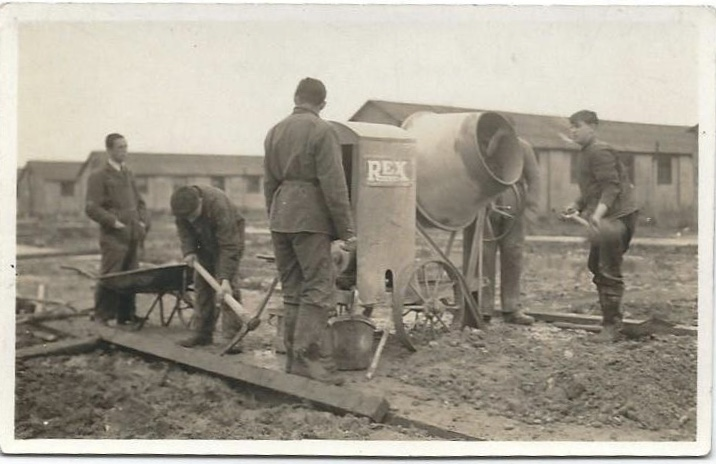 Richborough camp, Sandwich, Herbert Nachmann, on the right, holding a shovel.