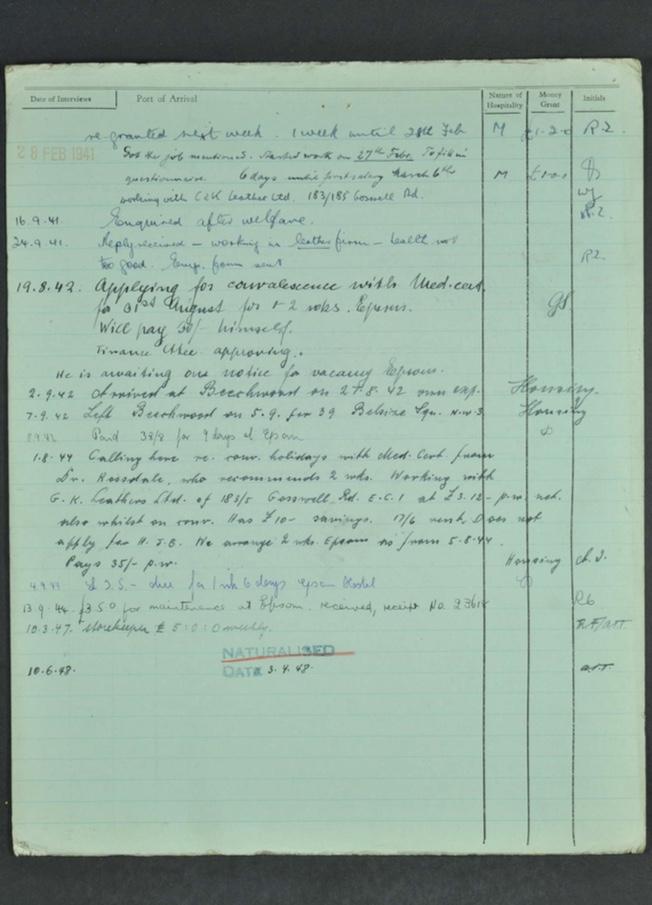 Kitchener camp, Hugo Heilbrunn, German Jewish Aid Committee form, page 6
