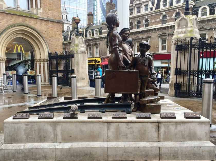 Kindertransporte memorial, Hope Square, Liverpool Street station, London; funded and maintained by the Association of Jewish Refugees