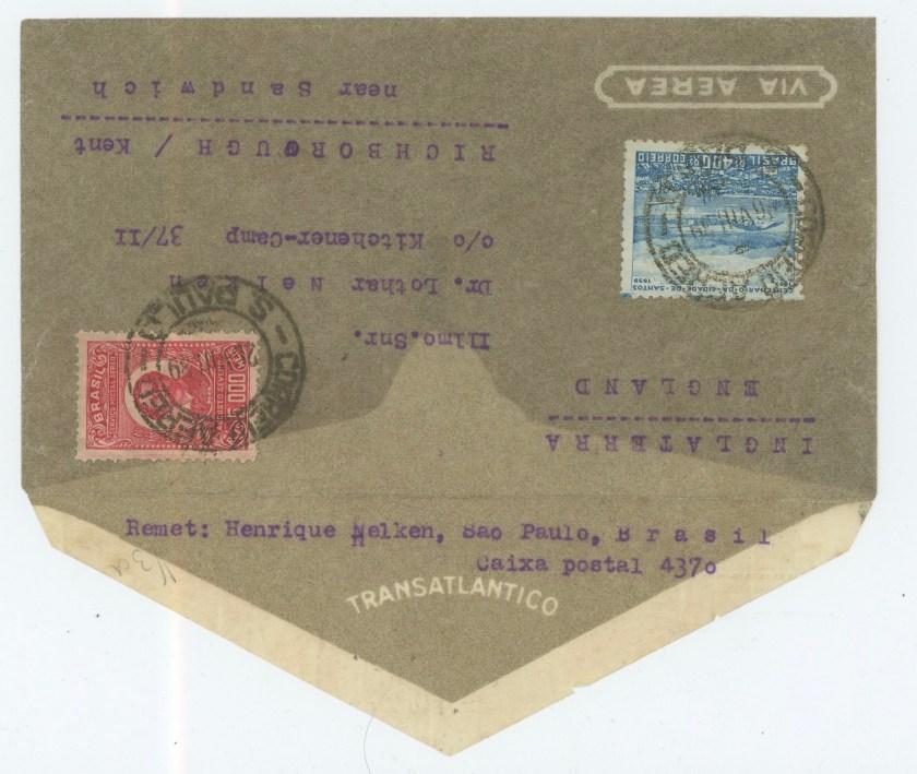 Richborough camp 1939, Lothar Nelken, front of envelope
