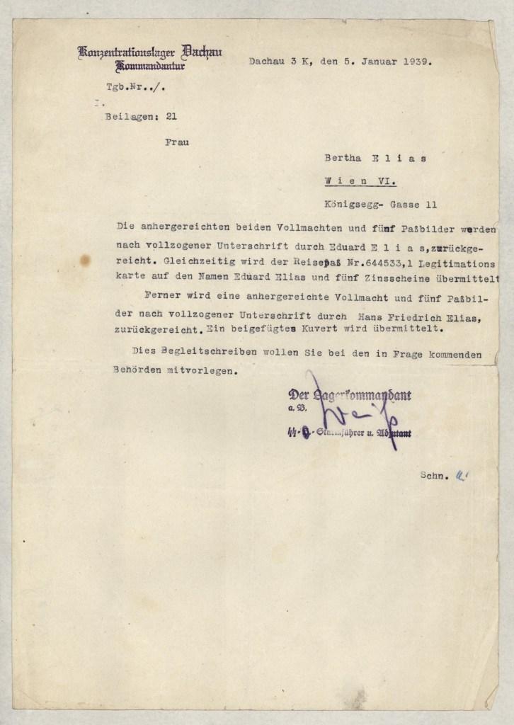 Richborough transit camp, Eduard Elias, Dachau letter, 5 January 1939