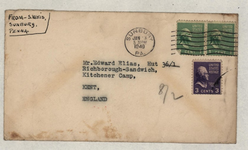 Kitchener camp, Eduard Elias, Hut 36/I, Envelope from USA, 13 January 1940