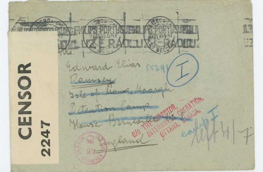 Kitchener camp, Eduard Elias, Envelope, 21 November 1940, Mooragh, Isle of Man, Canada, Censor