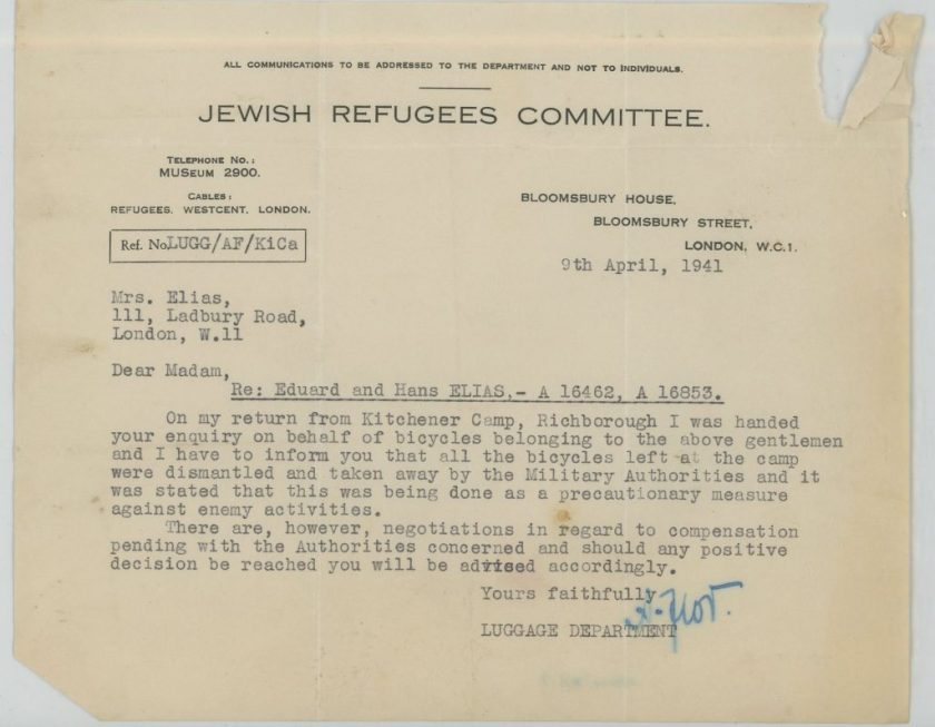 Eduard Elias, Hans Elias, Jewish Refugees Committee, Letter, 9 April 1941, bicycles, compensation
