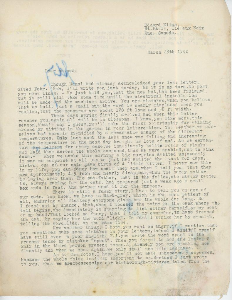 Eduard Elias, Letter, 28 March 1942, Ill aux Noix, Canada, Richborough, page 1