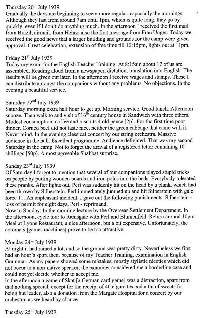 Lothar Nelken, Kitchener Camp diary, 1939 to 1940_003