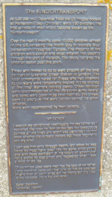 Richborough transit camp, Siegfried Metz, Kindertransport memorial text, Harwich harbour wall