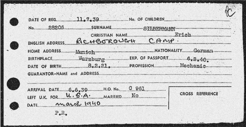 Richborough camp, Erich Silbermann, Entry card