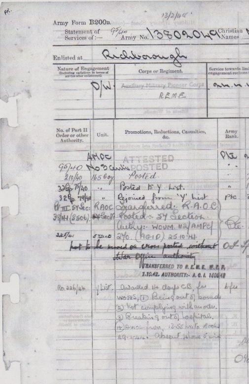 Max Heinz Nathan, Richborough, Pioneer Corps, Army Form B200