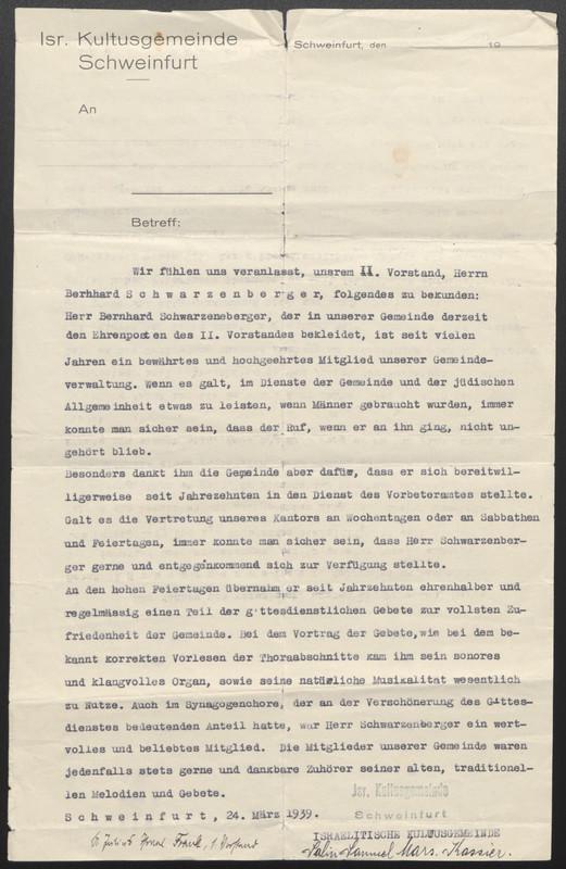 Kitchener camp, Emanuel Suessmann, Israelitische Kultusgemeinde Schweinfurt, Letter, 24 March 1939