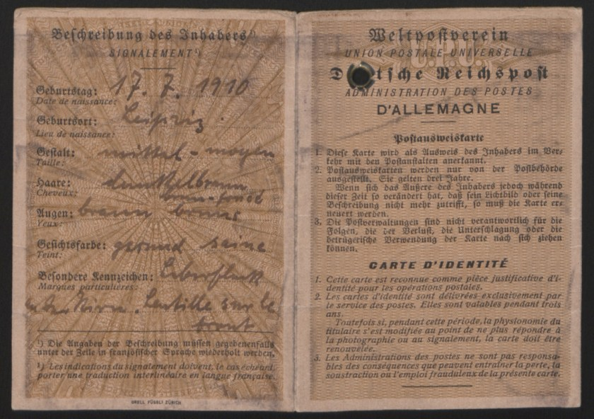 Kitchener camp, Emanuel Suessmann, Identity card