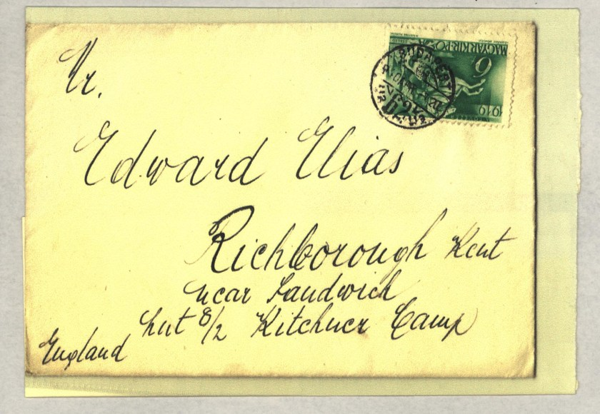 Kitchener camp, Eduard Elias, Envelope from Budapest to Richborough camp