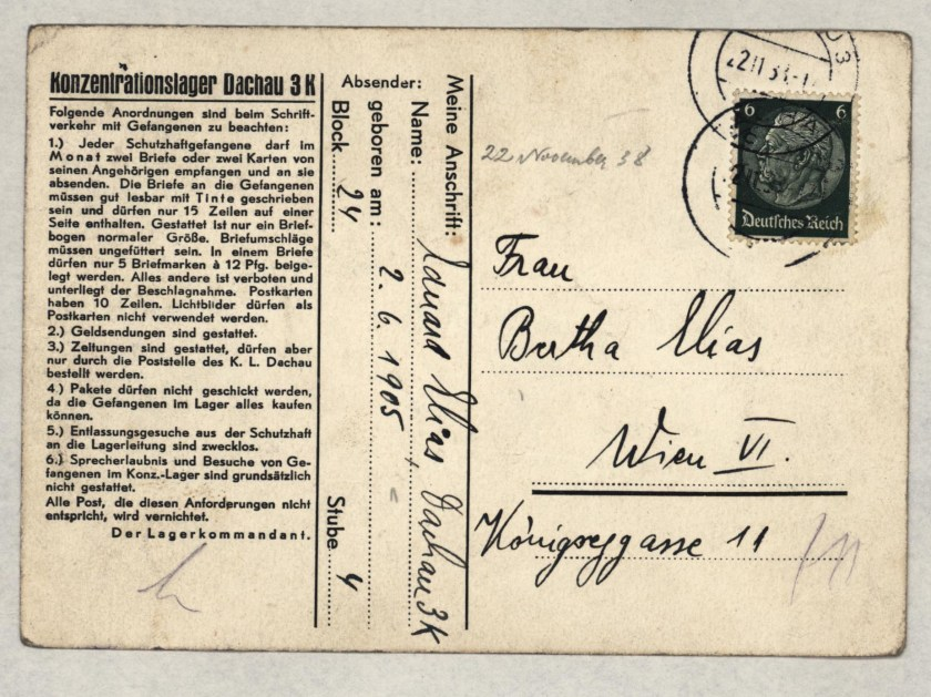 Eduard Elias, Dachau letter, 22 November 1938