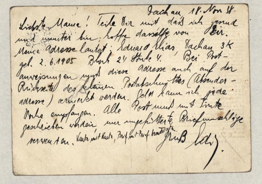 Eduard Elias, Dachau letter, 18 November 1938