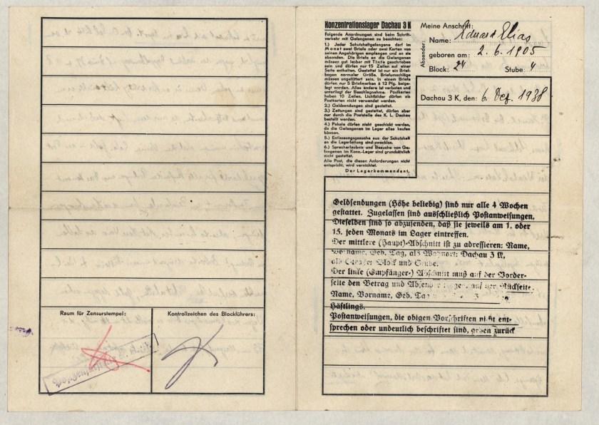 Eduard Elias, Dachau letter, 6 December 1938