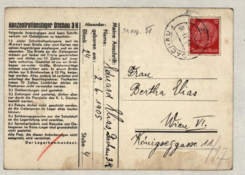 Eduard Elias, Dachau letter, 31 December 1938