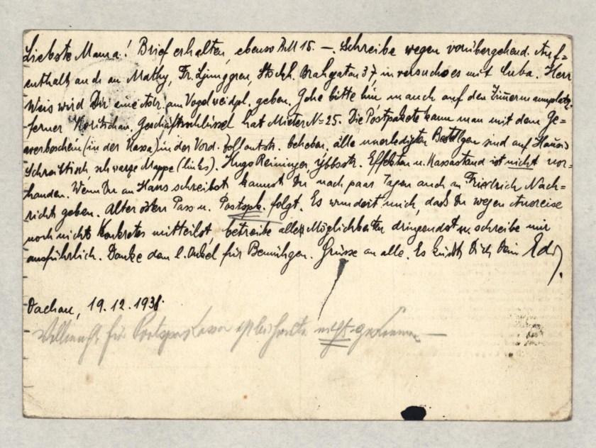 Eduard Elias, Dachau letter, 19 December 1938_002