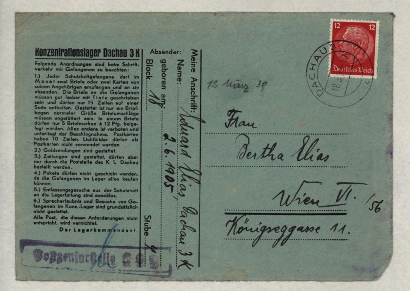 Eduard Elias, Dachau cover, Letter, 12 March 1939