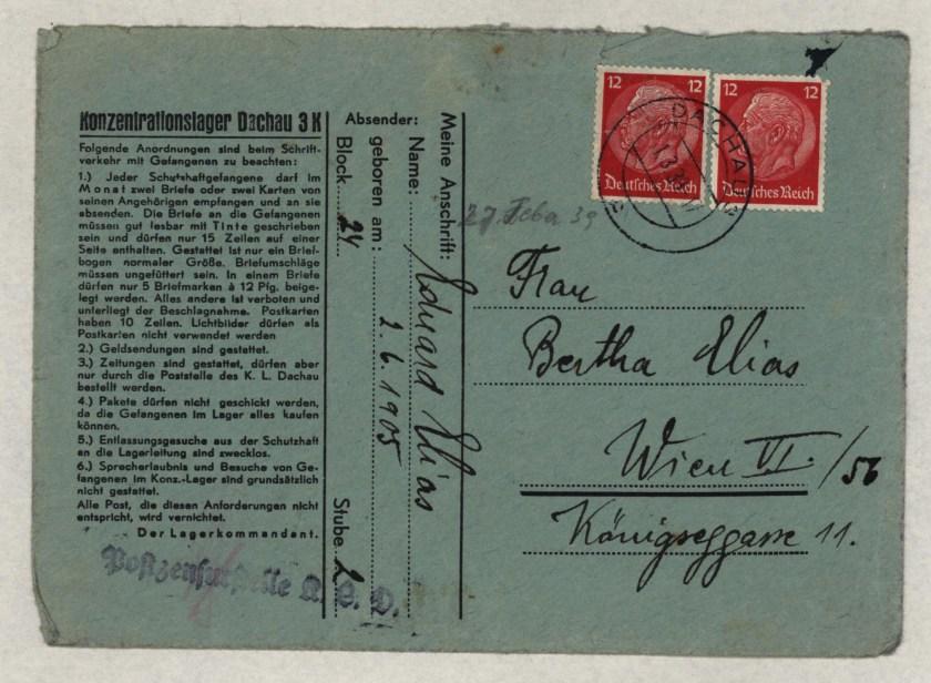 Eduard Elias, Dachau cover, Letter, 27 February 1939
