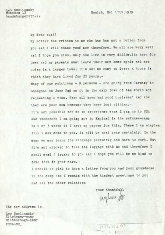 Kitchener camp 1939, Leo Smoliansky, Letter, 17 May 1939