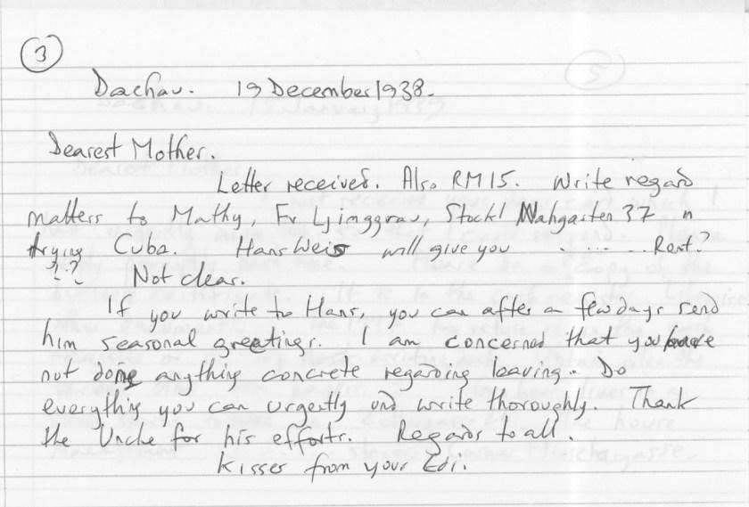 Eduard Elias, Dachau, Letter, 19 December 1938, translation,