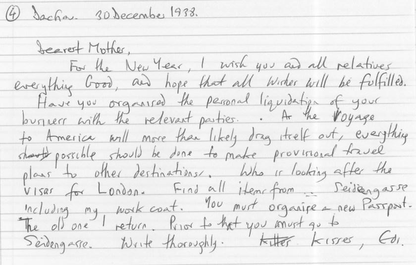 Eduard Elias, Dachau, Letter, 30 December 1938, translation