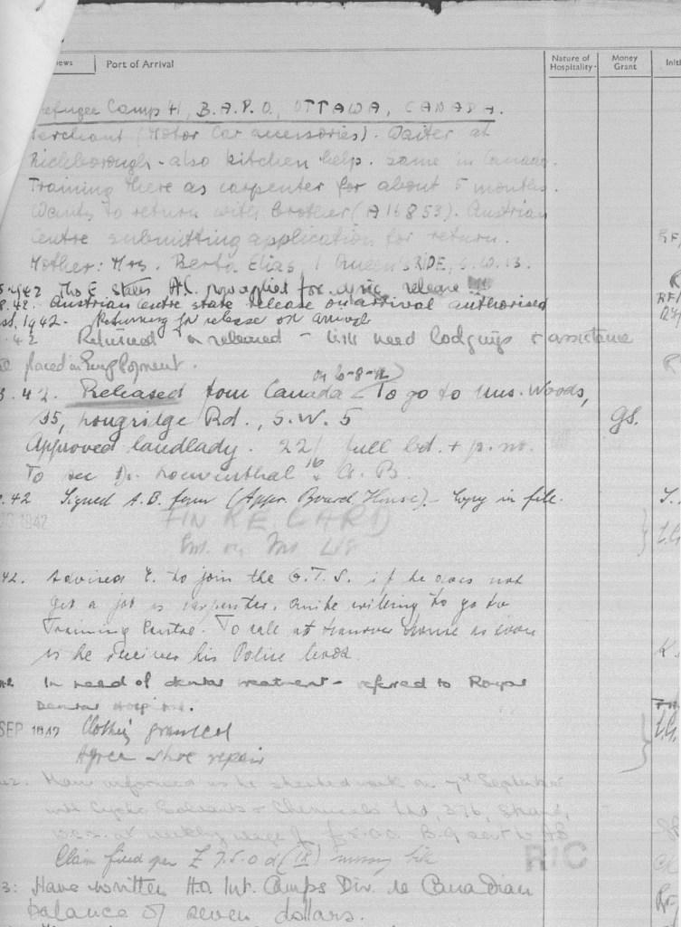 Richborough camp, Eduard Elias, German Jewish Aid, page 1