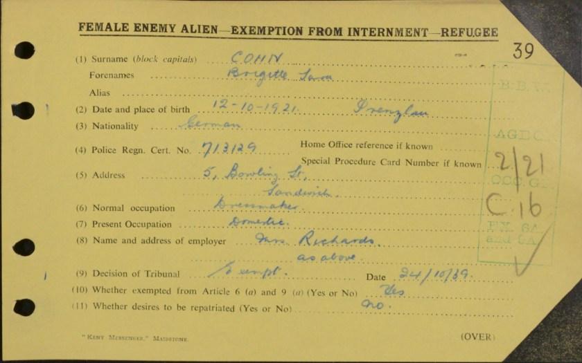 Brigitte Cohn, Exemption from internment card
