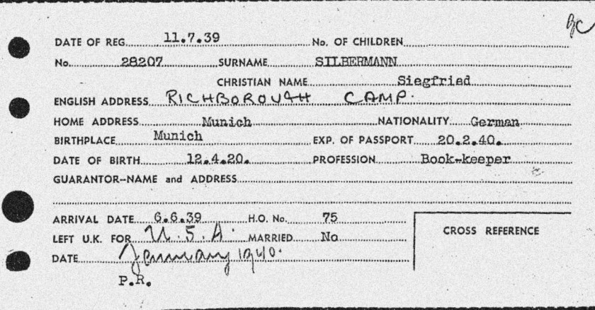 Richborough camp, Siegfried Silbermann, Entry to Britain card, 6 June 1939