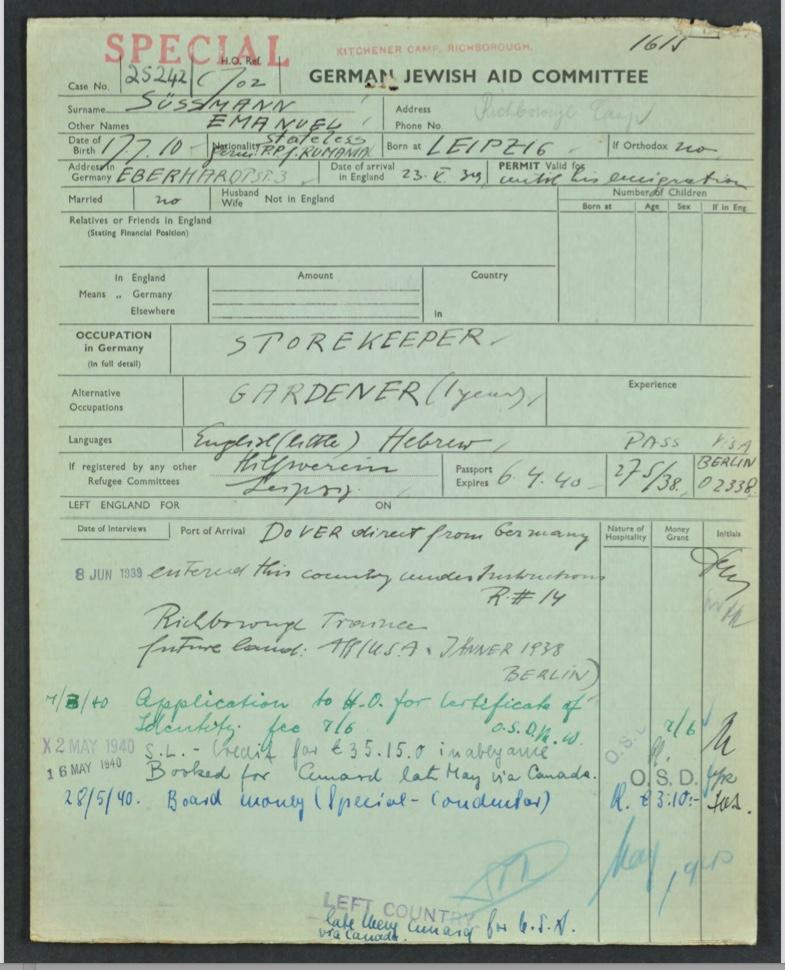 Kitchener camp, Emanuel Süssmann, German Jewish Aid Committee, page 1