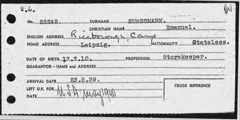 Richborough camp, Emanuel Süssmann, Entry to Britain card