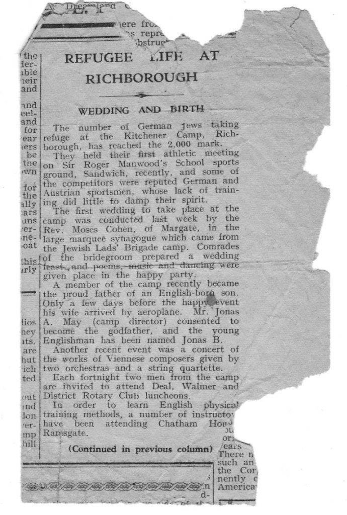 Kitchener camp, Walter Brill, Winston Brill, birth, marriage, newspaper notice, Refuge life at Richborough