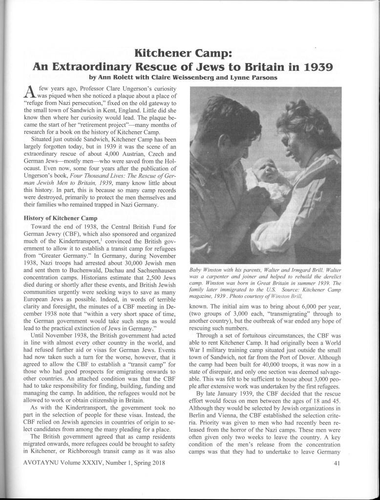Avotaynu, Jewish Genealogy, Ann Rolett, Kitchener camp article, page 1