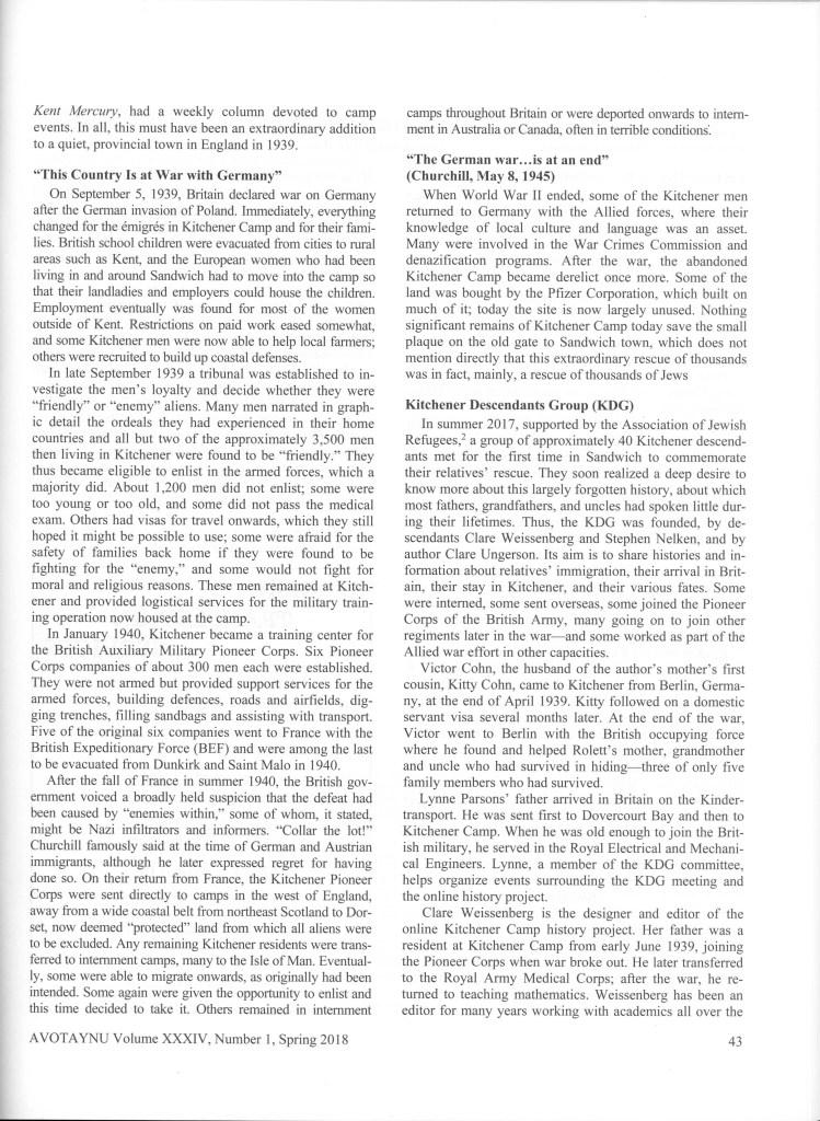 Avotaynu, Jewish Genealogy, Ann Rolett, Kitchener camp article, page 3