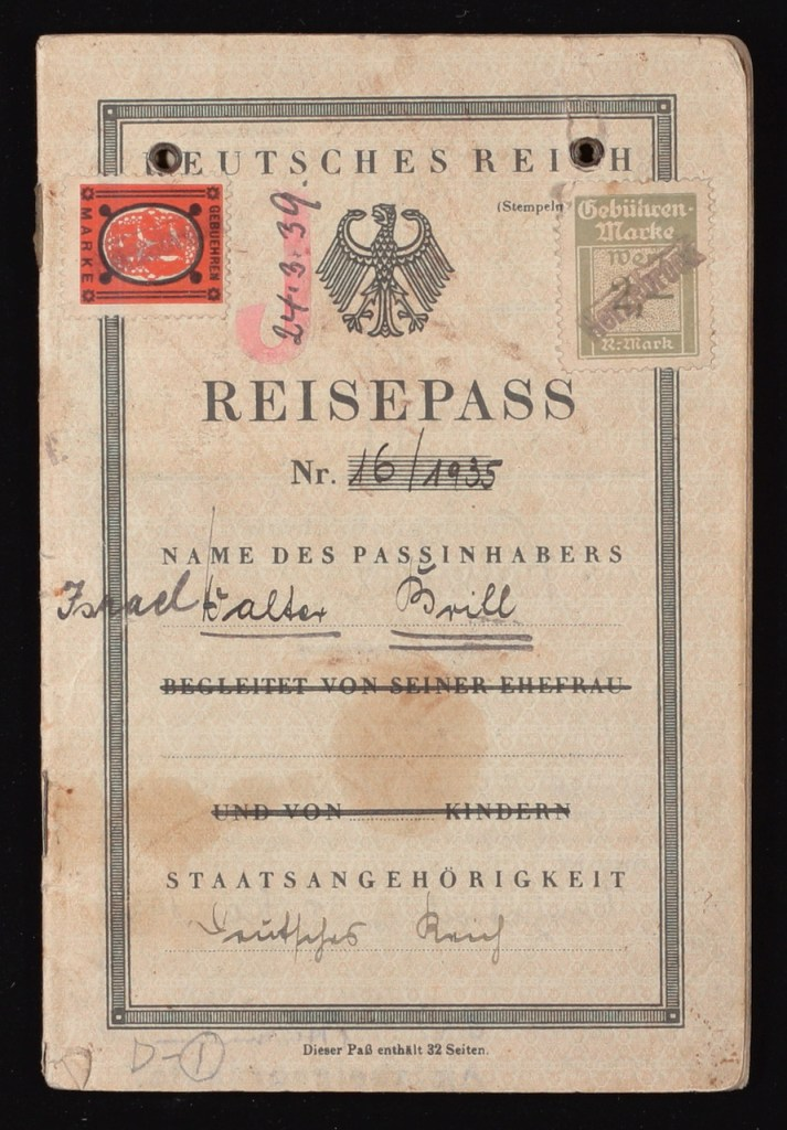 Richborough refugee camp, 1939, Walter Brill, German passport, Reisepass