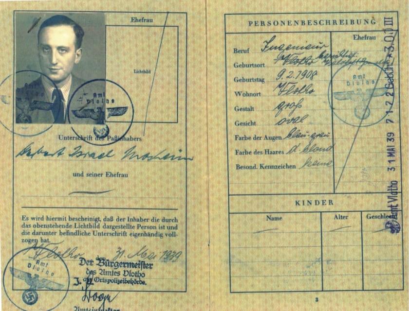 Kitchener camp, 1 August 1939, Herbert Mosheim, passport, photograph