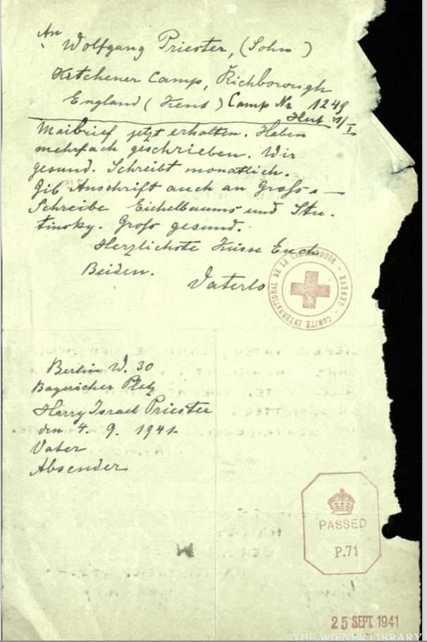 Kitchener camp, Wolfgang Priester, Red Cross letter dated 10 May 1941, stamped 18 July 1941, reverse