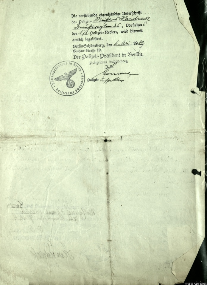 Kitchener camp, Wolfgang Priester, Document, Letter date 19 April 1939, Stamp 6 May 1939, Polizei-Präßident, Berlin, reverse