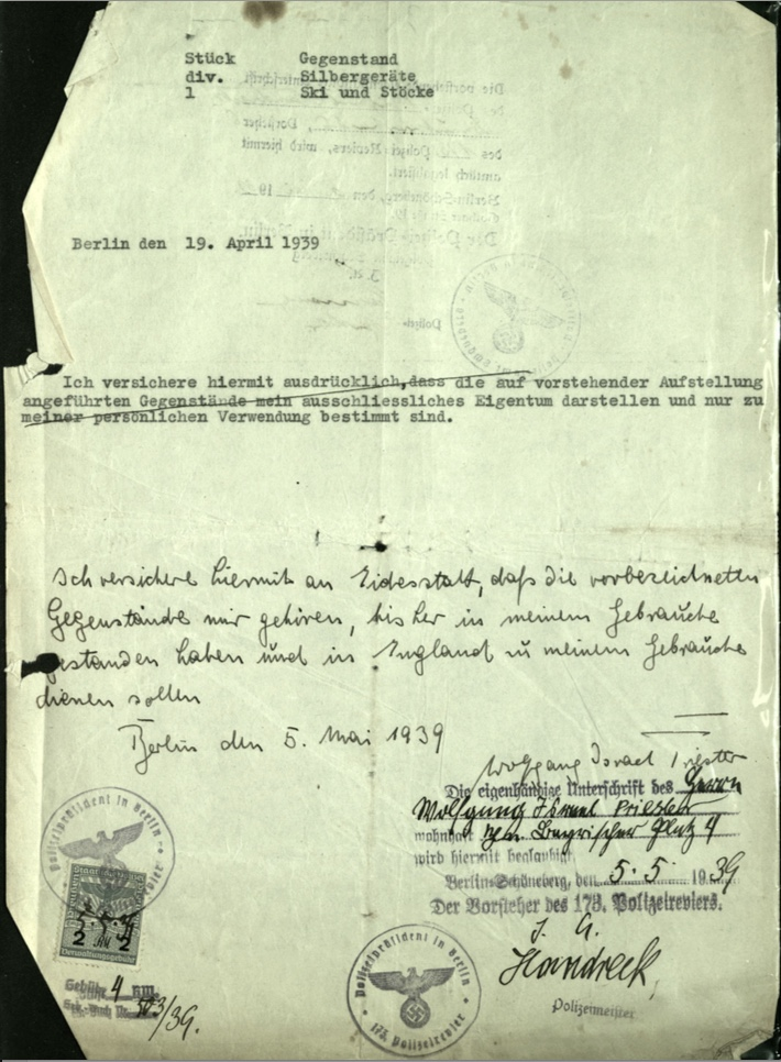 Kitchener camp, Wolfgang Priester, Document, Letter date 19 April 1939, Stamp 6 May 1939, Polizei-Präßident, Berlin, front