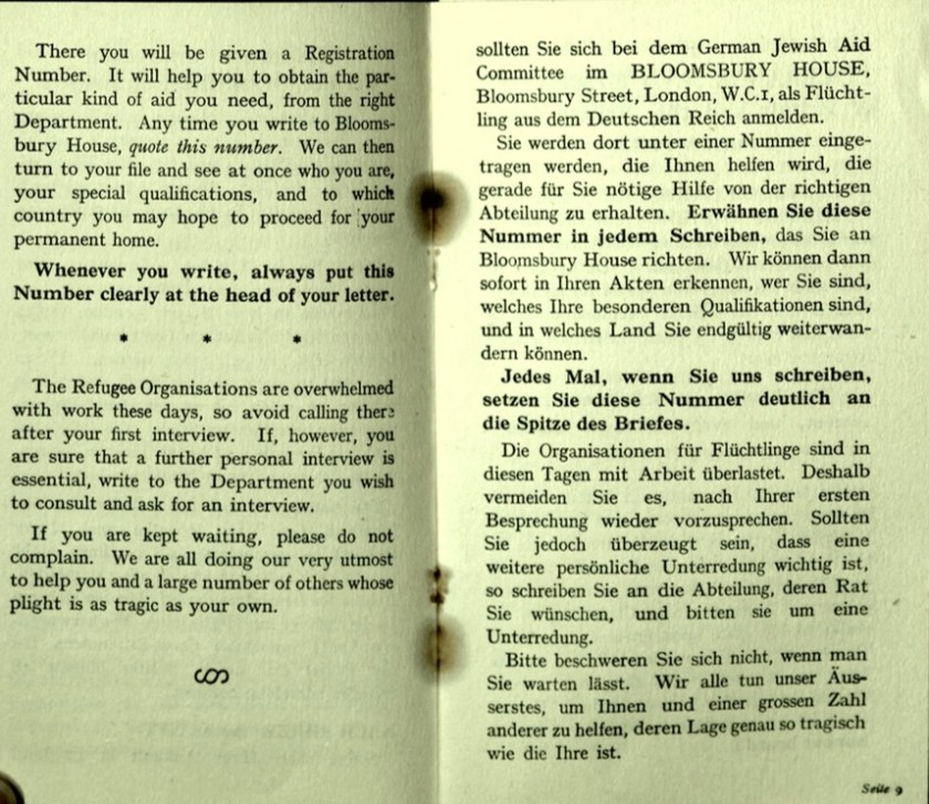 Kitchener camp, Wolfgang Priester, German Jewish Aid Committee, Bloomsbury House, Jewish Board of Deputies, Woburn House, Guidance to all Refugees, pages 8 and 9