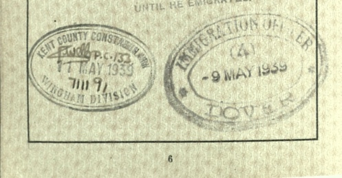 Wolfgang Priester, Reisepass, Deutsches Reich, Document, German passport, Leave to land in Dover, Arrival 9 May 1939, Immigration stamp