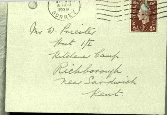 Kitchener camp, Richborough, Hut I/II, Wolfgang Priester, Envelope, 4 November 1939