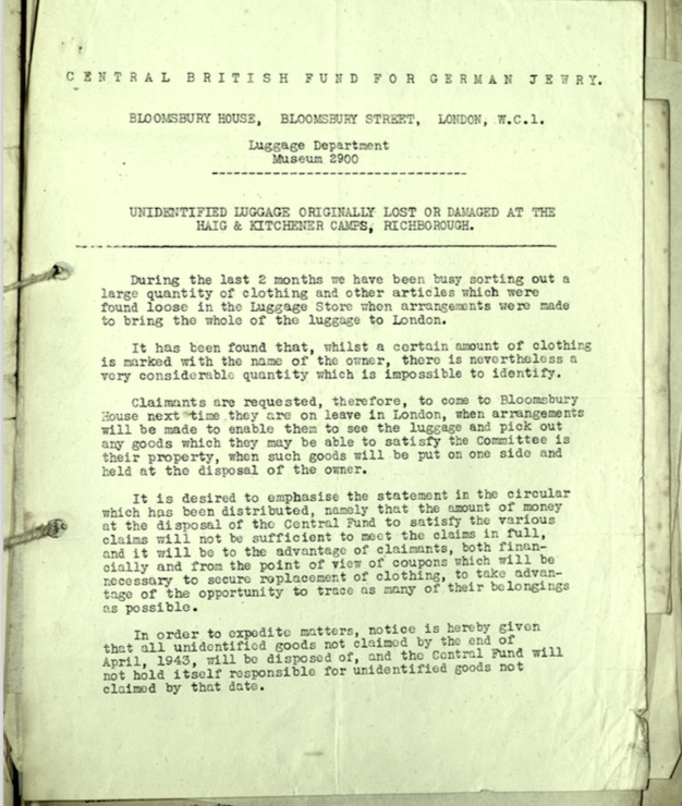 Richborough camp, Document, Haig camp, Central British Fund for German Jewry, Bloomsbury House, Lost, damaged luggage, nd