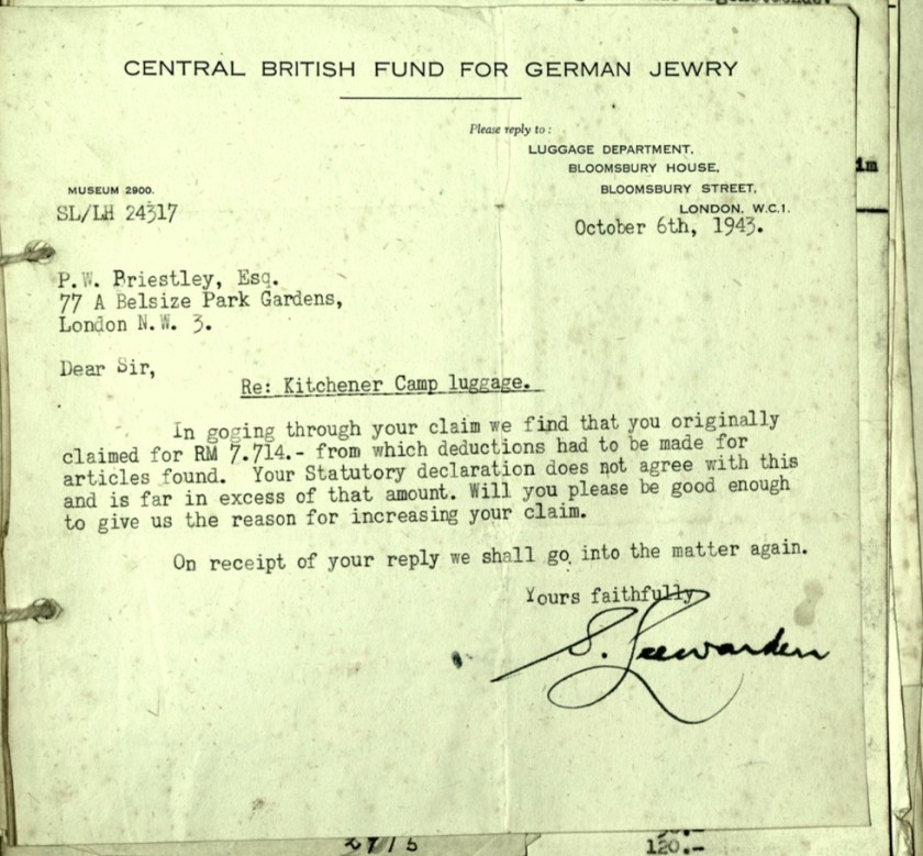 Kitchener camp, Wolfgang Priester, Letter, 6 October 1943, Luggage